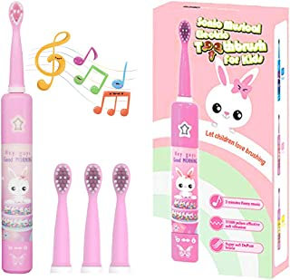CHAIN PEAK Musical Kids Sonic Electric Toothbrush, RechargeableSmart Cartoon Toothbrush for Children Toddlers for Age 3-12 with 2- MinTimer, 3 Modes, 4 Bristles,31000 Pulses (Pink)