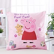 BAYUFS Peppa Pig Cartoon Pillow 15''15'' Painting Throw for Kids Living Room Bed Couch Sofa Kids Girls Lightweight Travelling Camping (Peppa Pig-Pillow)