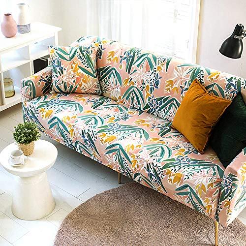 Funda Sofas 2 y 3 Plazas Planta Rosa Fundas para Sofa con Diseño Elegante Universal,Cubre Sofa Ajustables,Fundas Sofa Elasticas,Funda de Sofa Chaise Longue,Protector Cubierta para Sofá