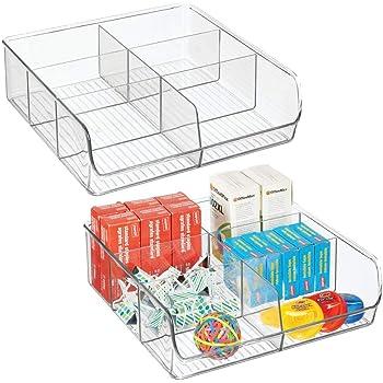 mDesign Juego de 2 organizadores de cajones para material de manualidades y de oficina – Práctica caja organizadora con 6 compartimentos – Bandeja de plástico para cajones y armarios – transparente: Amazon.es: Hogar