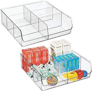 mDesign boîte de rangement pour les articles de bureau ou de bricolage (lot de 2) – boîte en plastique pratique à 6 compar...