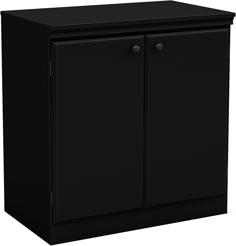 South Shore Furniture 7270722 Morgan Small 2-Door Storage Cabinet, Pure Black