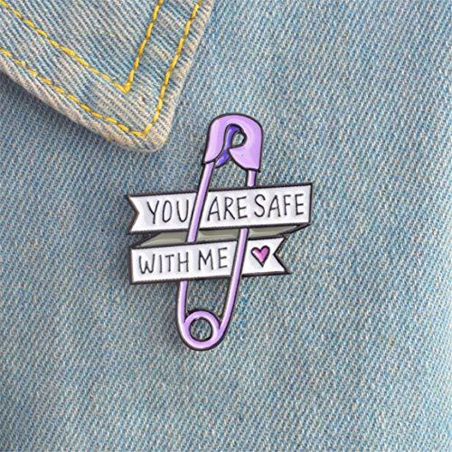 Weiy Kreative Sicherheitsnadel Design Brosche Lovely You Are Safe With Me Emaille-Abzeichen, modisch, schick, modisch, modisch, für Hemd, Pullover, Jacke, Mantel, Taschen, Dekoration, Schmuck Geschenk