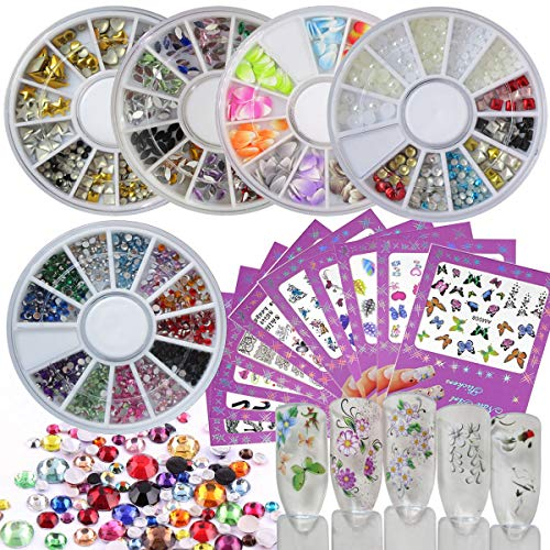 Nail Rhinestones Charms Set 10 Sheets Nail Art Stickers Decals 5 Box Nail Rhinestones Tools Accessories Manicure Pedicure Kit for Teens Girls Women (Set A)