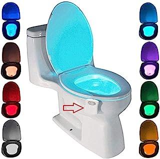 Lampe de Toilette, Veilleuse LED pour WC Salle de Bain Capteur Détecteur PIR 8 Changement de Couleurs Éclairage (seulement...