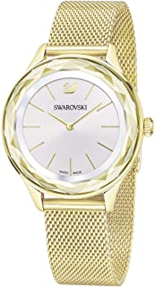 Crystal Authentic Octea Nova Watch, Milanese Strap, Gold Tone - Women's Elegant Swiss Made Timepiece - Classy Stone Studded Fashion Jewelry for Fancy and Casual Events