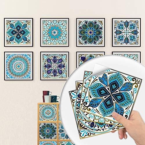 Adesivi per Piastrelle Formato in PVC, 10 Pezzi Adesivo Murale per Piastrelle Impermeabili con Simulazione Floreale Piccola Autoadesivo per Bagno Cucina Parete Fai da Te (10*10CM)