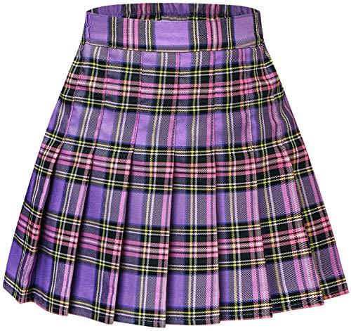 Girls Pleated Skirt, Comfy High Waist Skort School Uniform Plaid Skirt for Girl Purple Plaid, 2-3T = Tag 100