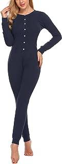 Womens One Piece Pajama Union Suit Thermal Underwear Set Sleepwear Pajama Jumpsuit Union S-XXL