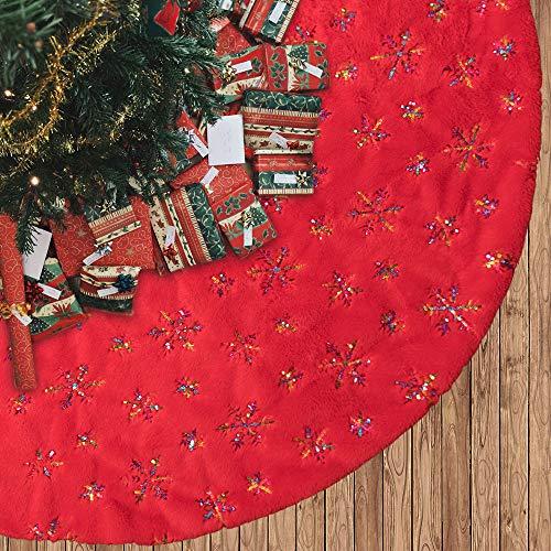 N&T NIETING Rot Weihnachtsbaum Rock mit Schneeflocke Pailletten, 75cm Runde Form Weihnachtsbaumdecke Fell Christbaumständer Teppich für Weihnachtsfeiertag Dekorationen