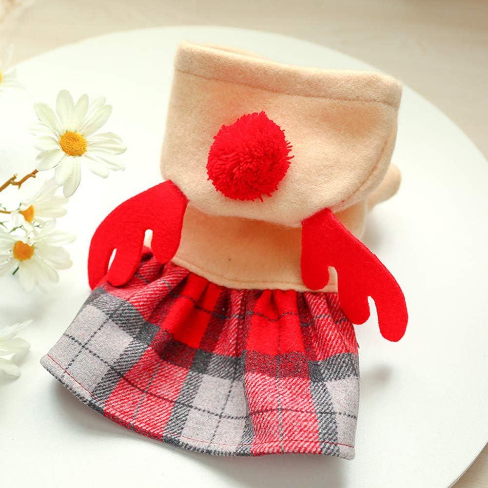 hbz11hl Christmas Pet Winter Dog Cat Elk Red Plaid Warm Xmas Dress Clothes Cloak Apparel S