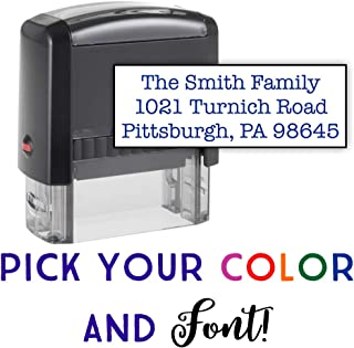 Custom Stamp - 20 Font Options - Self-Inking Address Stamp - Up to 3 Lines