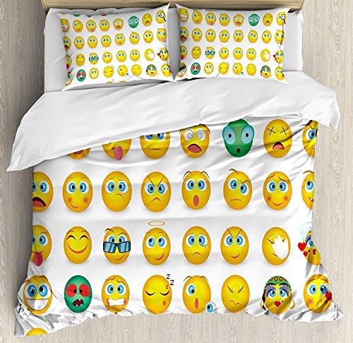 Juego de funda nórdica, dibujos animados como caritas sonrientes de mosters Chicas Pareja feliz triste enojado furioso estampado de humor, juego de cama decorativo de 3 piezas con 2 fundas de almohada