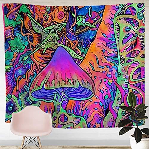 PAKASEPT Tapestry Pilz Psychedelic Tapisserie/Mandala Hippie Tapisserie Wandteppich Wand Schlafzimmer Wohnzimmer Decor (Type A)