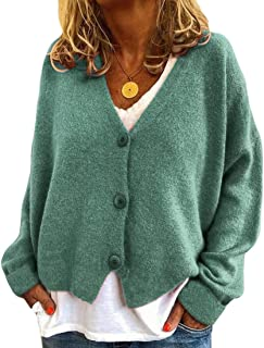 Women's Soft Knitted Sweater Long Sleeve Button Down Cardigan Outwear