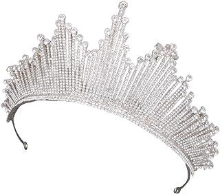 WOWOWO Tiaras Corona barroca Corona Tiaras Reina Vintage Cristal Diamantes de imitación Nupcial para Mujer Novia