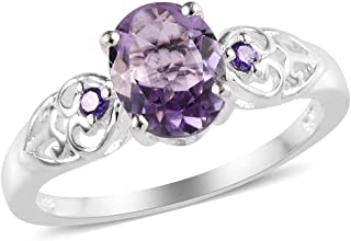 925 Sterling Silver Pink Amethyst Cubic Zirconia CZ Purple Statement Ring for Women Cttw 1.4