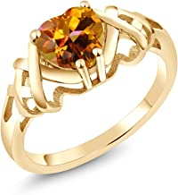 9ct Gold Ring with orange centre topaz stone comes gift boxed