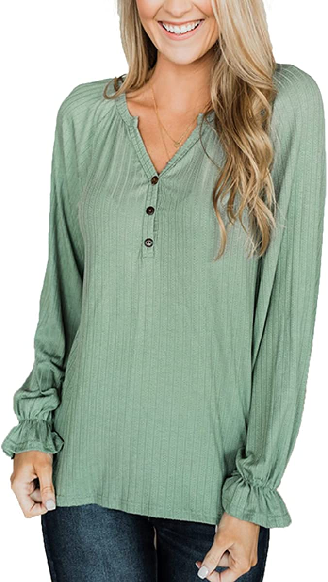 Women Henley Tops Casual V Neck Long Sleeve T shirt Ribbed Shirts Loose Fit Tunic Blouses with Button