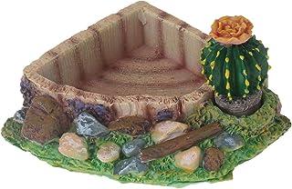 emours Reptile Amphibian Tortoise Lizard Frog Water Dish Food Feeder Cactus Corner Bowl with Ramp Small