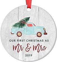Newlywed Christmas Ornament 2019 First Christmas Mr & Mrs Bridal Shower Wedding Gift Idea Rustic Holiday Tree Ceramic Country Farmhouse Keepsake 3