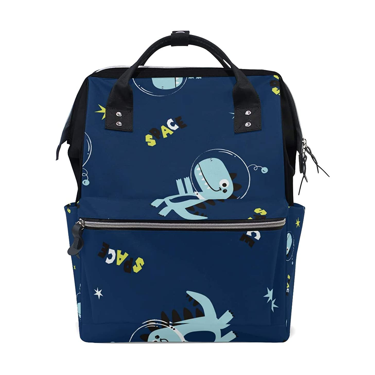 Cartoon Blue Dinosaur Astronaut School Backpack Large Capacity Mummy Bags Laptop Handbag Casual Travel Rucksack Satchel For Women Men Adult Teen Children