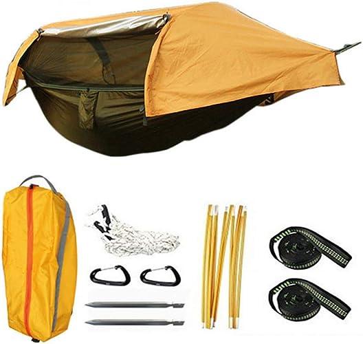 WENMIN Hamac de Tente de Camping, lit de Couchage Suspendu de Camping   Moustiquaire   Couverture étanche   Ultralight Portable   Parachute,jaune