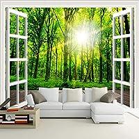 カスタム写真3Dサンシャイングリーンフォレストウィンドウ自然風景画寝室リビングルームソファ装飾壁壁画壁紙-350x250cm