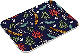 Bath Mat, Absorbent Diatomaceous Earth Bath Mat, Leaf Design Visual Arts Sarong Illustration Diatom Mud Mat, Non-Slip 15.5...