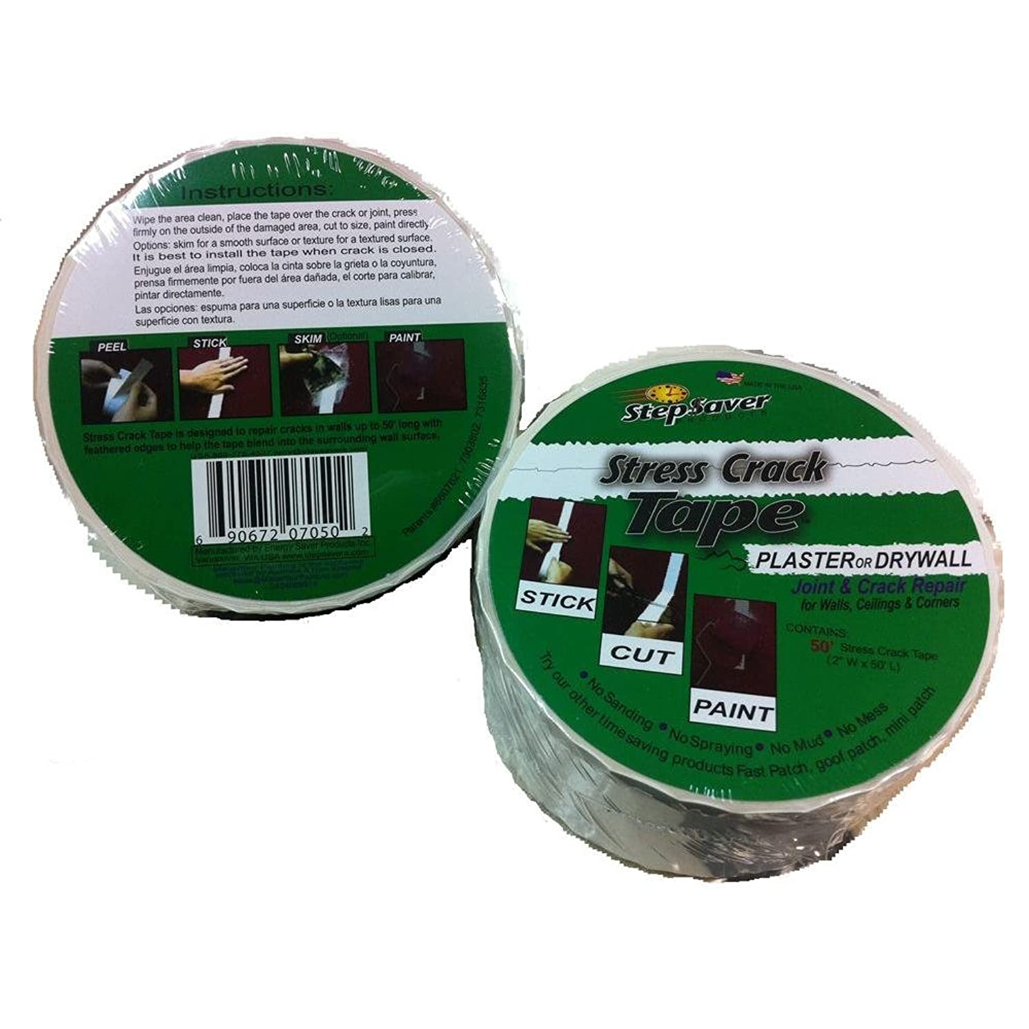 Stepsaver Products 7050 Self Adhesive 50-Feet x 2-Inch Stress Crack Tape Roll