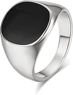 Yoursfs Mens Ring Stainless Steel Black 18K Yellow Gold Plated Agate Wedding Ring