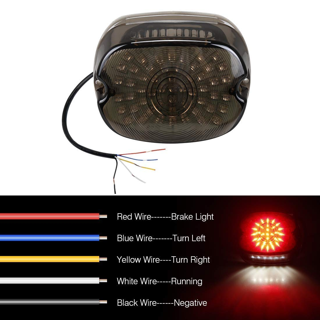 harley davidson smoked led tail light brake turn signal lights for  2002-2010 fxst models harley sportster 1200 dyna smoke lens lay down style:  buy online at best price in uae - amazon.ae  amazon.ae