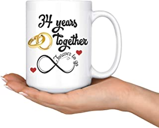 Lplpol 34th Wedding Anniversary Gift for Him and Her, Married for 34 Years, 34th Anniversary Mug for Husband and Wife, 34 Years Together with Her, 11 Oz