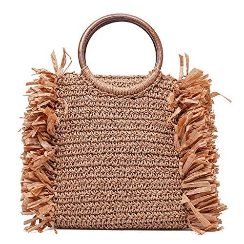 JOSEKO Bolso de mano de paja, bolso de noche de verano para mujer, bolso de playa, bolso de sobre de paja tejida, marrón