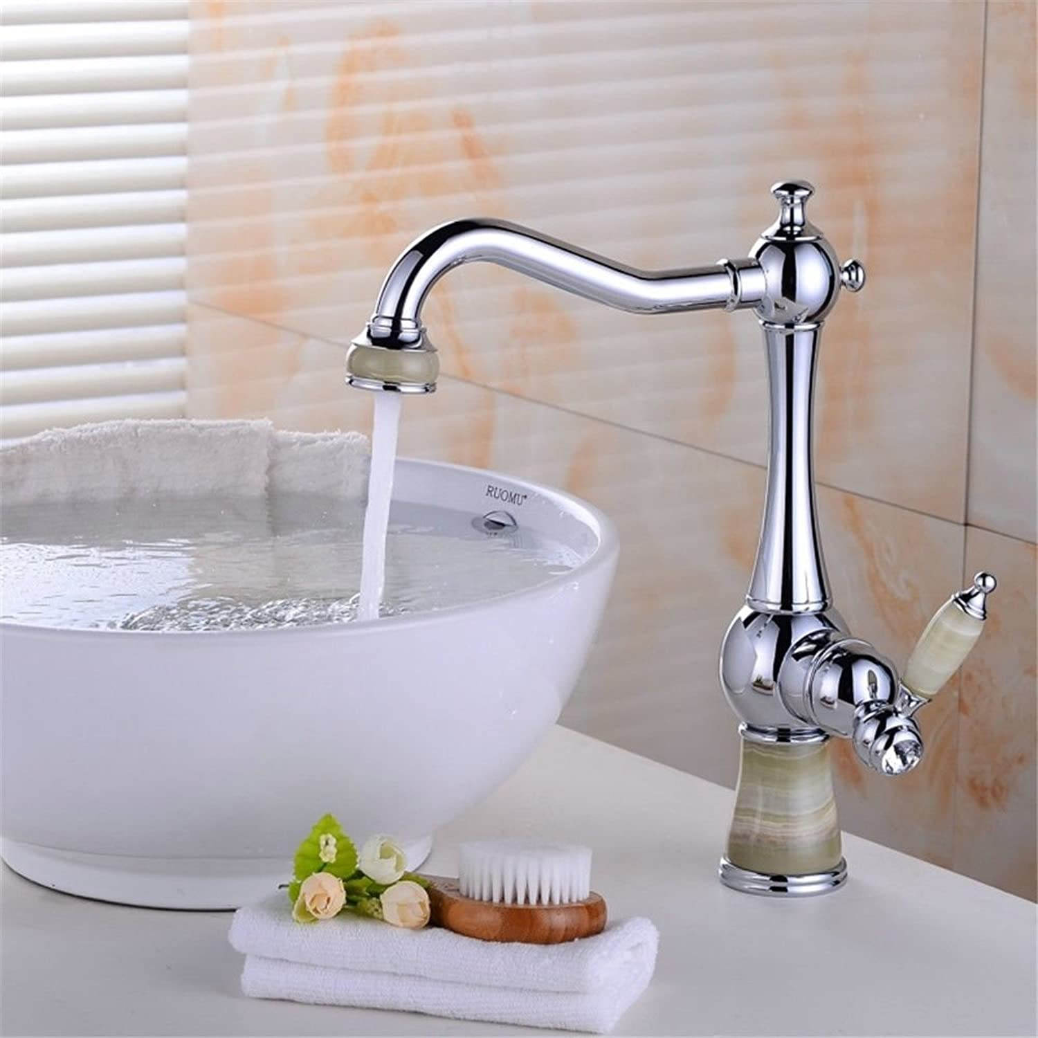 Commercial Single Lever Pull Down Kitchen Sink Faucet Brass Constructed Polished Kitchen Faucet Copper European Retro Hot and Cold Water Wash Basin Wash Basin Laundry Pool redary Sink Faucet