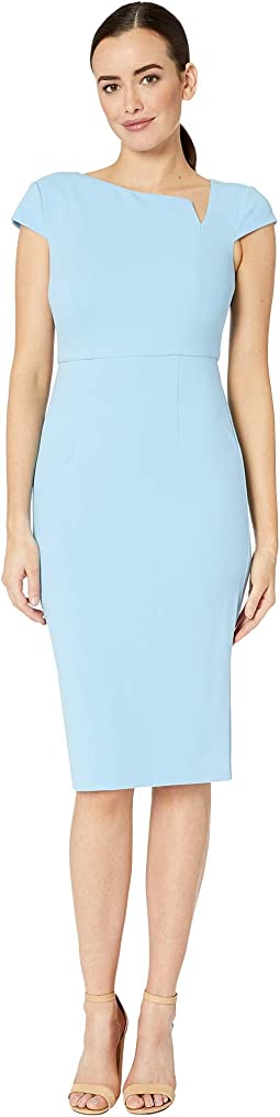 Cap Sleeve Sheath Crepe Dress