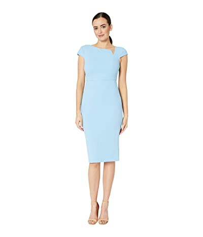 Donna Morgan Cap Sleeve Sheath Crepe Dress (Blue Cadet) Women