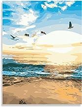 لوحة فنية يدوية بالأرقام، لوحة قماشية على شكل شاطئ فارزيو بواسطة مجموعات الأرقام، لوحة زيتية فنية فنية فنية فنية فنية لغرف...