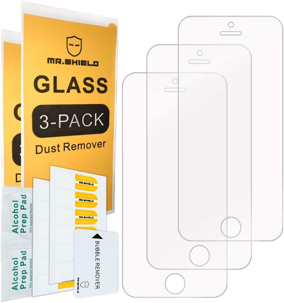 [3-PACK]-Mr.Shield Designed For iPhone SE (2016 Edition ONLY) / iPhone 5/5S / iPhone 5C [Tempered Glass] Screen Protector [Japan Glass With 9H Hardness] with Lifetime Replacement