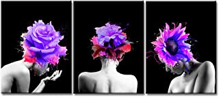 iKNOW FOTO 3 Pieces Creative Abstract Canvas Prints Women Face with Beautiful Purple Flowers in Girl Hair Wall Art Gallery Wrap Artwork Ready to Hang Modern Home Salon Walls Decor 16x24inchx3pcs