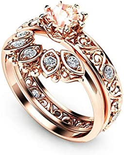 Women's 2 PCS Fashion Separation Rose Gold Diamond Wedding Engagement Floral Ring