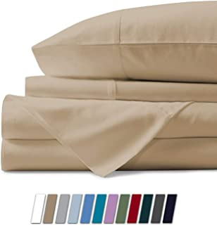 500 Thread Count 100% Cotton Sheet Sand King Sheets Set, 4-Piece Long-staple Combed Pure Cotton Best Sheets For Bed, Breathable, Soft & Silky Sateen Weave Fits Mattress Upto 18'' Deep Pocket