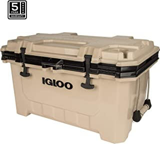 Igloo IMX 70 Quart Cooler with Cool Riser Technology, Fish Ruler, and Tie-Down Points - Heavy-Duty Marine Ice Chest - Tan