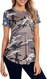 Women T-Shirts Short Sleeve American Print T-Shirt Casual Top 4th of July Loose Blouse