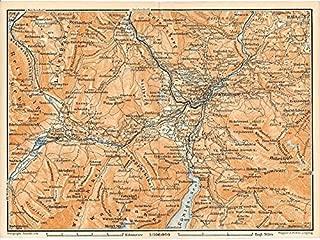 Berchtesgaden region Bavaria Germany 1899 color lithograph regional map