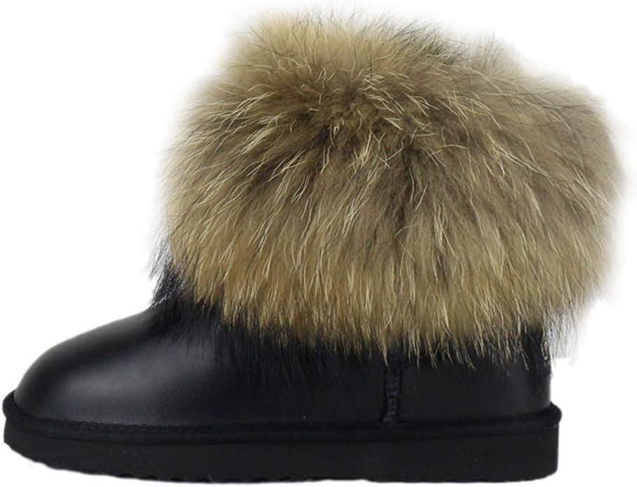 Yaloee Women's Snow Boots Natural Fox Fur Genuine Leather Warm Winter Slip-On Raccoon Fur Short Boots