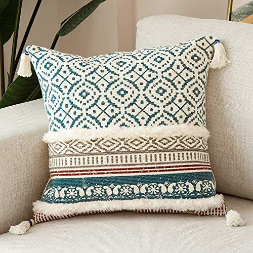 hi-home Federa per cuscino in cotone boho decorativo, con nappa, super morbida, per divano, camera da letto, soggiorno, auto, 50 x 50 cm (blu)