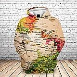Sxcyu Fashion 3D Map Printing Sudadera con Capucha Casual para Hombres Sudadera Suelta de otoño e In...