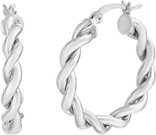 Rhodium Plated Sterling Silver Twisted Rope Hoop Earrings for Women