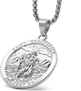 Saint Christopher Stainless Steel Necklace Pendant Square Rolo Chain 24'' for Men